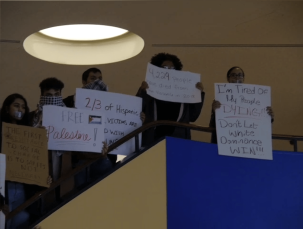 Signs held by members of Black United Students during the silent protest.